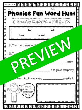 Phonics Fun Word Hunt Pack - AL, AW, AU Pattern