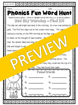 Phonics Fun Word Hunt Pack - A_E, AI, AY Pattern