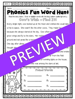 Phonics Fun Word Hunt Pack - IGH, Y Pattern