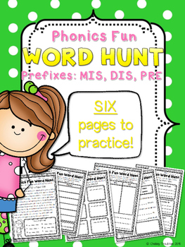 Phonics Fun Word Hunt Pack - Prefixes PRE, MIS, DIS