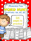 Phonics Fun Word Hunt Pack - Prefixes UN, RE, BI