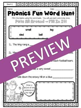 Phonics Fun Word Hunt Pack - Short E Pattern