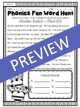 Phonics Fun Word Hunt Pack - Short O Pattern