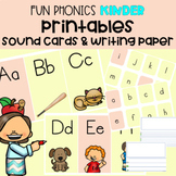 FUN Phonics Printables | Kinder | LARGE Cards, SMALL Cards,Writing paper