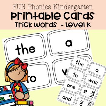 Phonics Fun | TRICK WORDS | Level K Printable Cards