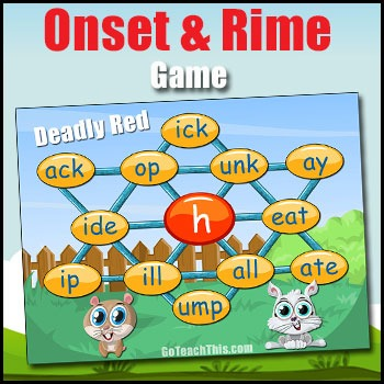 PHONICS GAME - A Phonics Game of Onset and Rime - Deadly Red