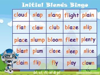 'Phonics Game' - Initial Blend Bingo - bl, fl, cl, pl & sl