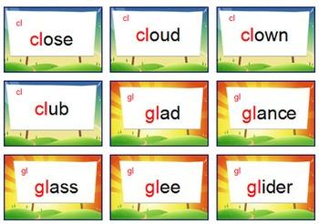 'PHONICS GAME' ~ Initial Blend Card Game ~ Change  {bl.fl,cl,pl,gl & sl}