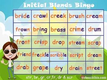 Initial Blends Game - Bingo - {br, gr, cr, fr, dr, str & scr)