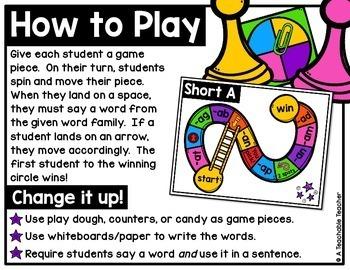 Short Vowel Word Family Slide