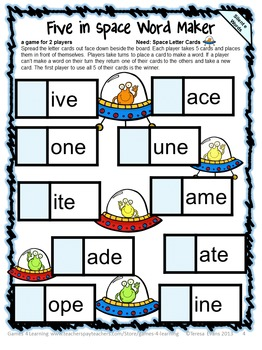 Free Long Vowel Phonics Activity: Silent e Game and Word Building Activity