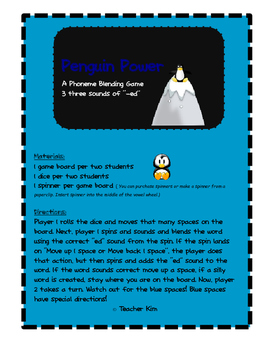 """Phonics Game for the 3 sounds of """"ed"""""""