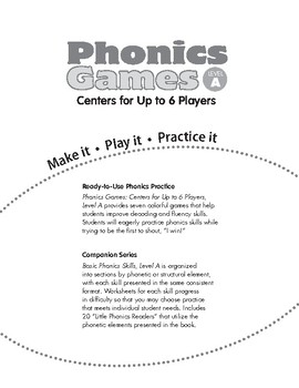 Phonics Games: Centers for Up to 6 Players, Level A
