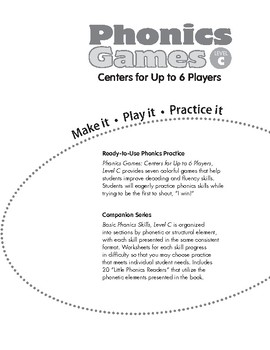 Phonics Games: Centers for Up to 6 Players, Level C