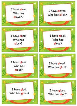 Phonics Games - Initial Blends - bl, pl, fl, sl, cl & gl - I Have... Who Has?