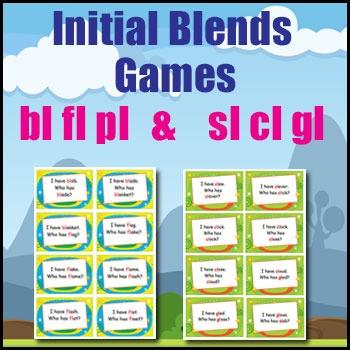 Phonics Games - Initial Blends - bl, pl, fl, sl, cl & gl - I Have... Who Has?