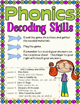 Phonics Games for Third Grade,  Unit 2 VCV words, blends, diphthongs