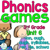 Phonics Games for Third Grade,  Unit 6 -ion, ough, augh, syllables, and schwa
