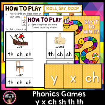 Phonics Games y x ch sh th th