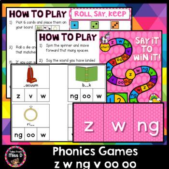 Phonics Games z w ng v oo oo