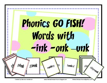 Phonics Go Fish Words with -ink -onk and -unk