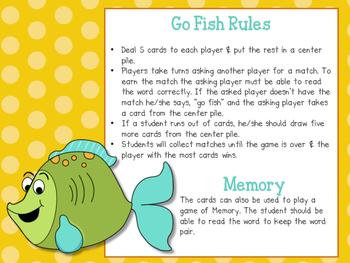 Phonics Go Fish - ou & ow diphthong words
