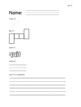 Phonics Grade Level 1, Unit 7: Trace It, Box It, Color It, Write It