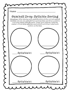 Gumball Literacy Center Syllable Work