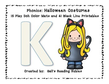 Phonics Halloween Costumes 15 Play Doh Mats & 41 Black Line Printables