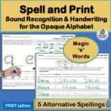 Handwriting Practice for Alternative Spellings Magic 'e' supports Jolly Phonics