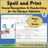 Alternative Spelling and Handwriting Practice for Magic 'e'  | SASSOON Font