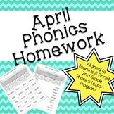 Phonics Homework: April