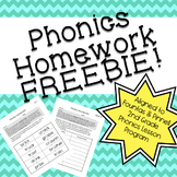 Phonics Homework FREEBIE!