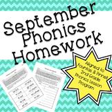 Phonics Homework: September