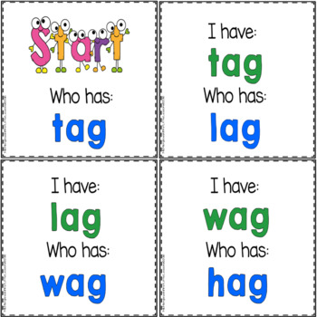 "Phonics: I Have Who Has: Focus ""ag"" Word Family Game"