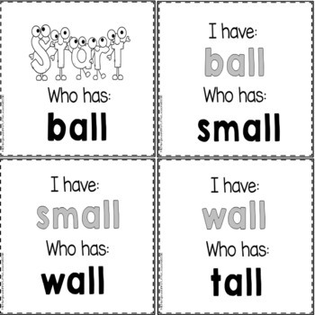 """Phonics: I Have Who Has: Focus """"all"""" Word Family Game"""