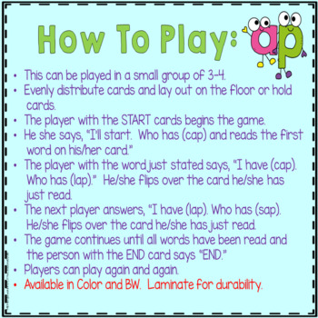 """Phonics: I Have Who Has: Focus """"ap"""" Word Family Game"""