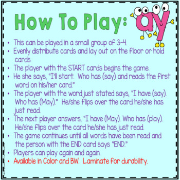 "Phonics: I Have Who Has: Focus ""ay"" Word Family Game"