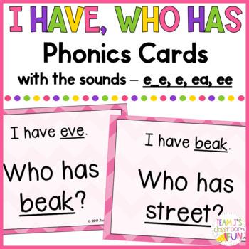 Phonics - I Have, Who Has - Mix of Long E (e_e, e, ee, ea) Words