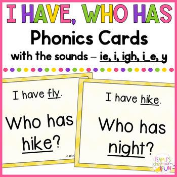Phonics - I Have, Who Has - Mix of Long I (i_e, i, ie, y, igh) Words