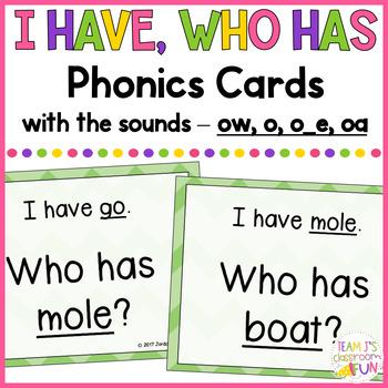 Phonics - I Have, Who Has - Mix of Long O (o_e, o, oa, ow) Words