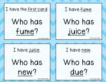 Phonics - I Have, Who Has - Mix of Long U (u_e, ui, ue, ew) Words