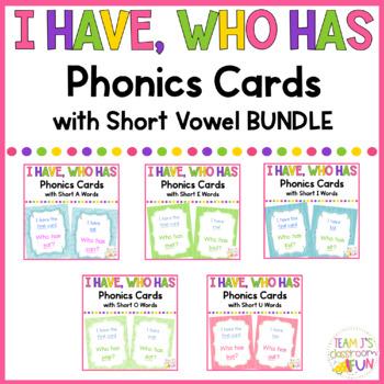 Phonics - I Have, Who Has - Short Vowel CVC Word BUNDLE