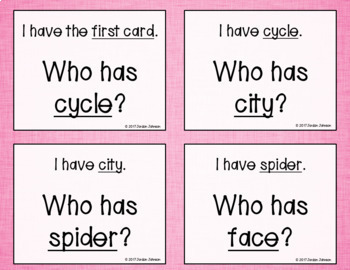 Phonics - I Have, Who Has - Soft C and G Words BUNDLE