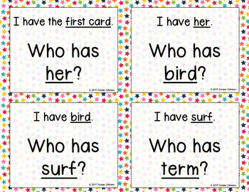 Phonics - I Have, Who Has  - er, ir, ur words