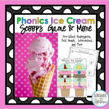 Beginning Sounds Phonics Ice Cream Scoops Game/Interventions for  K-1 ELL