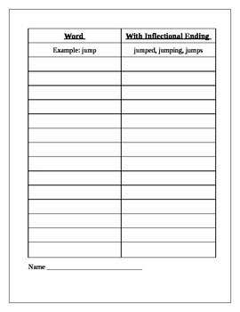 Phonics Inflectional Endings HW/Worksheet/Quiz