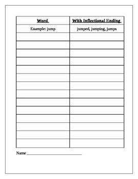 Phonics Inflectional Endings HW/Worksheet/Quiz
