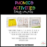 Phonics Activities Long Vowels Interactive Notebook
