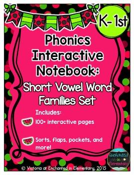 Phonics Interactive Notebook: Short Vowel Word Families Set